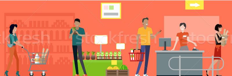 Süpermarket çalışma süreç örnek alışveriş vektör Stok fotoğraf © robuart