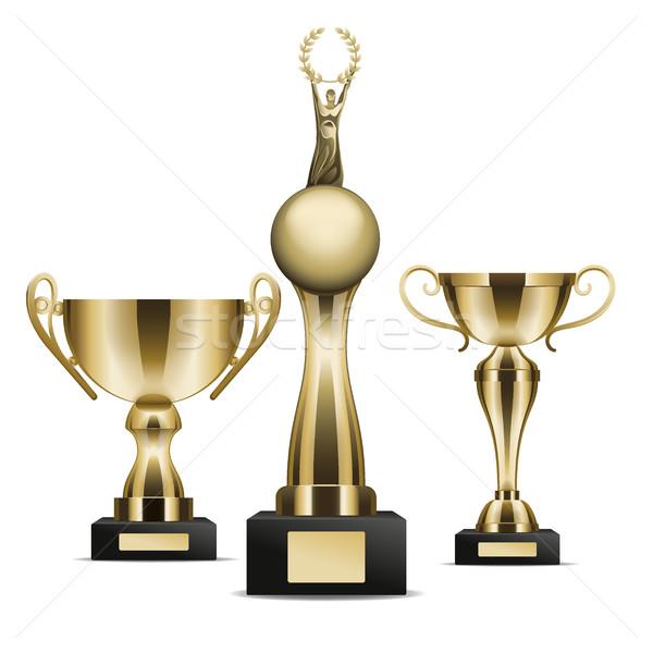 Stockfoto: Ingesteld · gouden · trofee · winnaar · grafische
