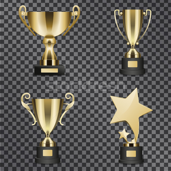 Realistic Golden Trophy Cups Illustrations Set Stock photo © robuart