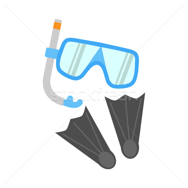 Snorkel, Flippers and Mask Isolated on White Stock photo © robuart