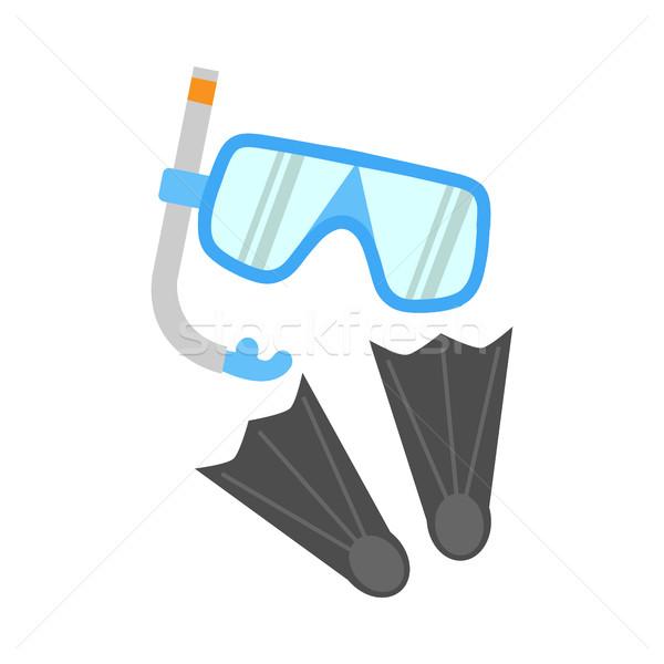 şnorkel maske yalıtılmış beyaz mavi dalış Stok fotoğraf © robuart