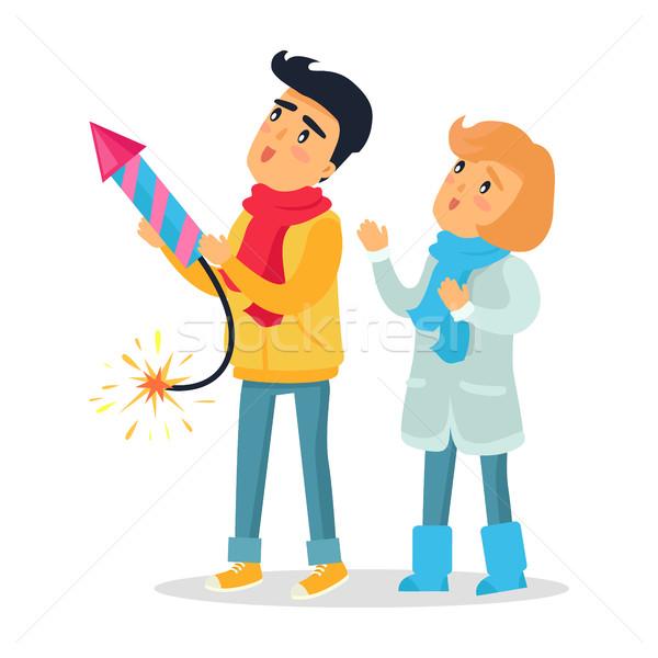 Cartoon Boy and Girl Set off Firework Rocket. Stock photo © robuart