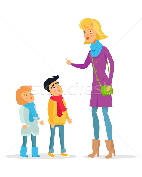 Woman Explaining Rules for Attentive Children Stock photo © robuart