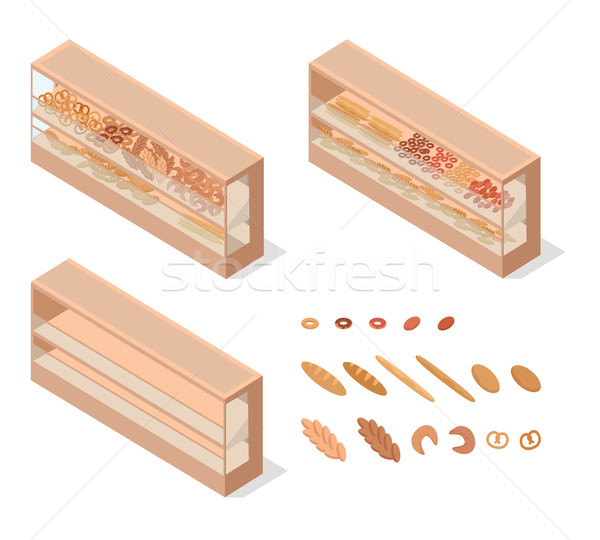 Sütemények élelmiszer kirakat izometrikus vektor bolt Stock fotó © robuart