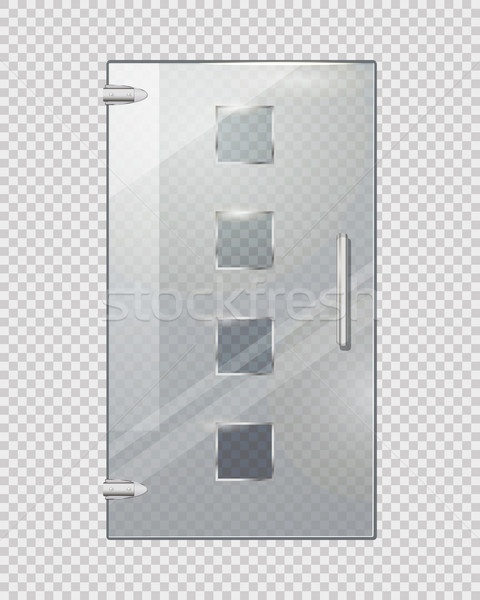 Glass Door with Squares on Transparent Background Stock photo © robuart