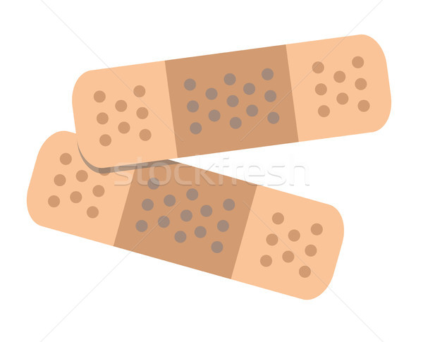 Two Adhesive Bandages Flat Vector Illustration Stock photo © robuart