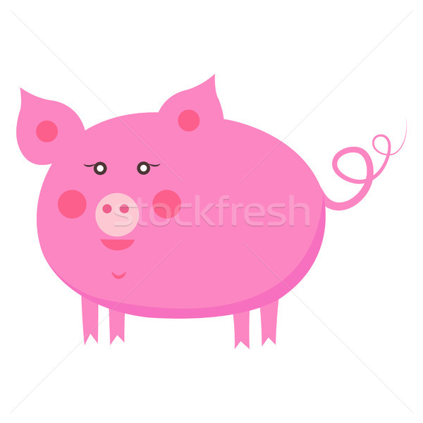 Stock photo: Cute Piggy Cartoon Flat Vector Sticker or Icon