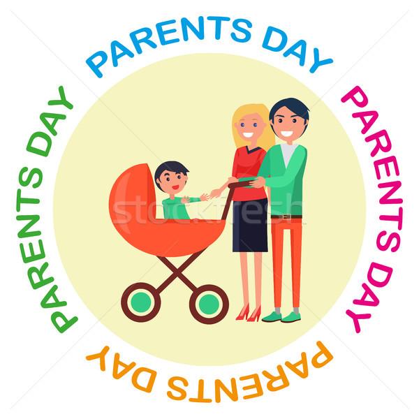 Affiche dévoué parents jour heureux Photo stock © robuart