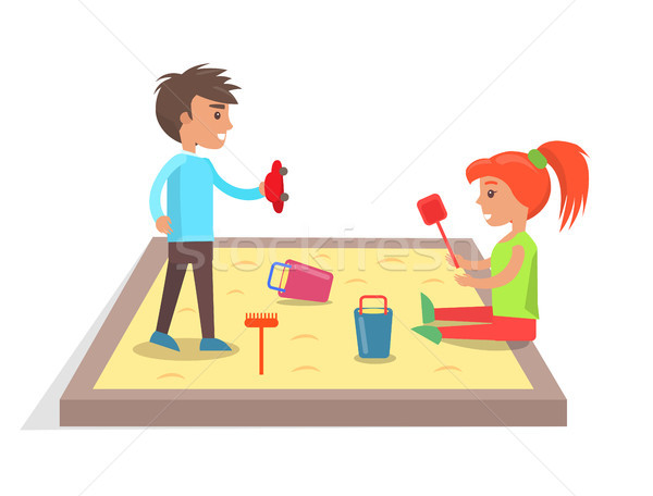 Children Play with Toys in Sandbox Illustration Stock photo © robuart