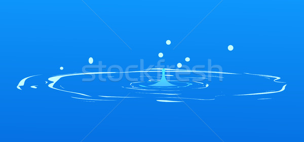 Drops Falling into Water Isolated on Blue. Spring Stock photo © robuart