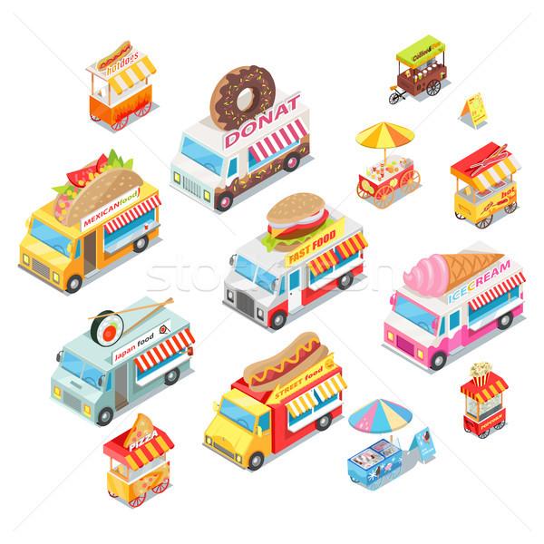 Street Food Eateries on Wheel Isometric Vector Set Stock photo © robuart