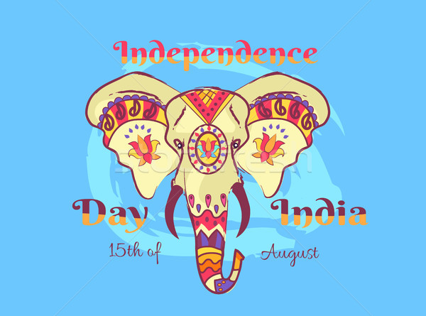 Independence Day of India Poster with Elephant Stock photo © robuart