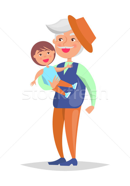 Middle-aged Man with Grandson in Hands Vector Stock photo © robuart