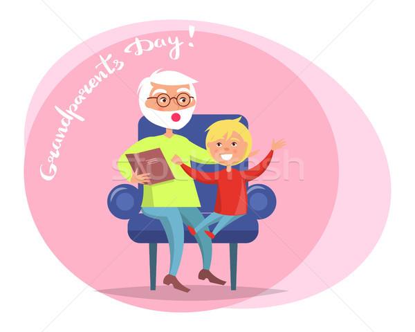 Nagyszülő nap nagypapa olvas unoka vektor Stock fotó © robuart