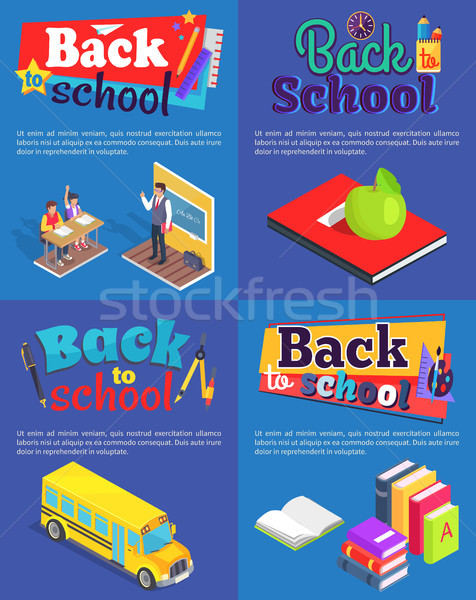 Back to School Set of Posters with Inscriptions Stock photo © robuart