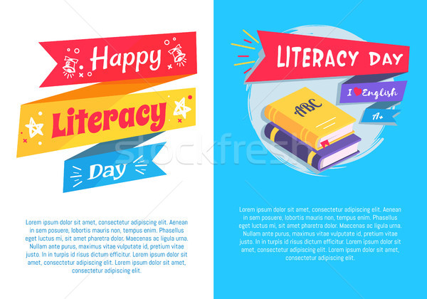 Happy Literacy Day Set Poster Text I Love English Stock photo © robuart