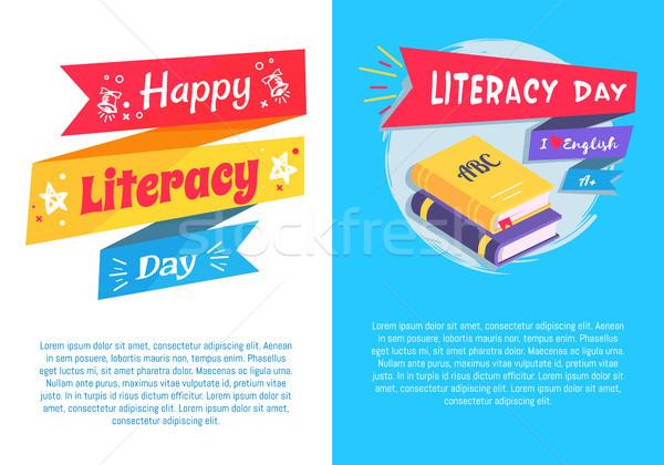 Felice alfabetizzazione giorno set poster testo Foto d'archivio © robuart