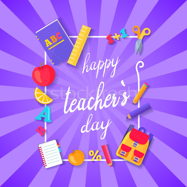 Happy Teacher s Day Wish on Colorful Postcard vector