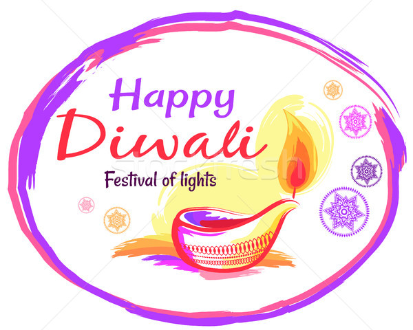 Stock photo: Happy Diwali Poster with White Background and Text