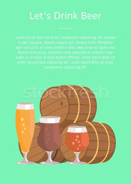 Three Beer Barrels Degustation Vector Illustation Stock photo © robuart