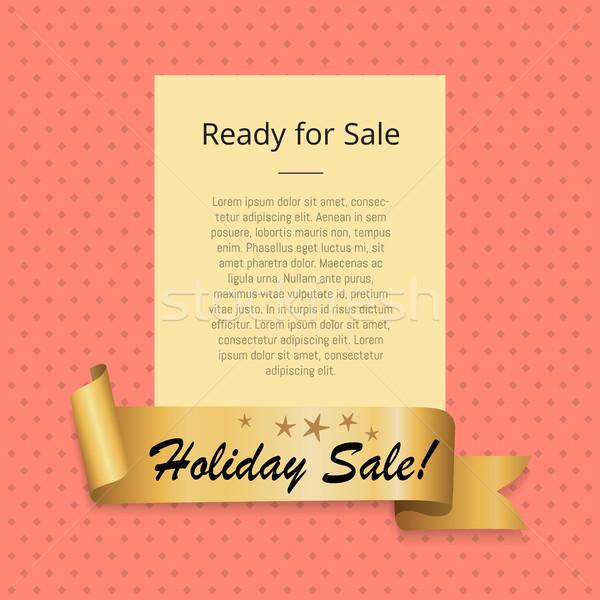 Gotowy wakacje sprzedaży promo plakat złoty Zdjęcia stock © robuart