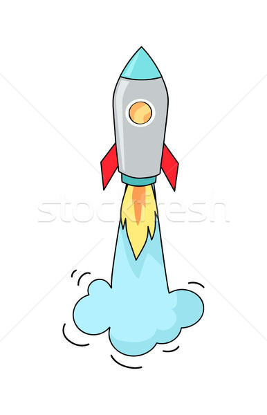 Big Image of Flying Rocket Vector Illustration Stock photo © robuart