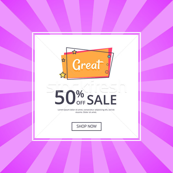 Great Sale 50 Off Shop Now Inscription with Star Stock photo © robuart