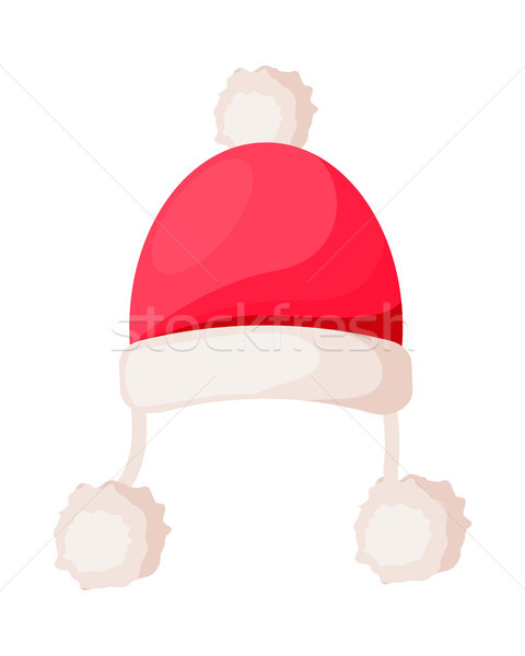 Santa Claus Hat with Strings Ending in Pompoms Stock photo © robuart