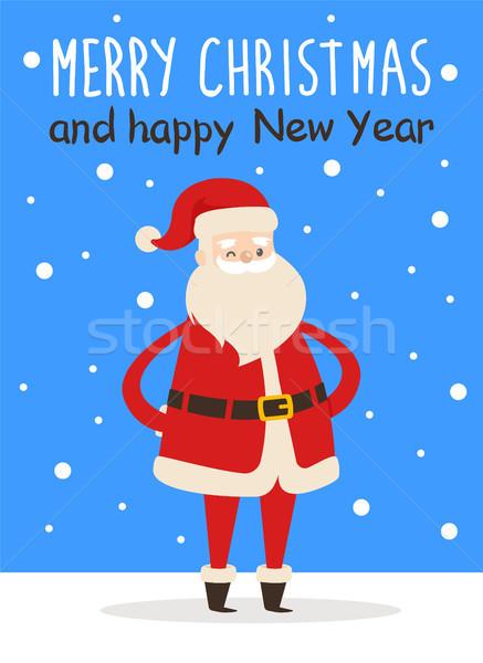 Merry Christmas Happy New Year Poster Santa Snow Stock photo © robuart