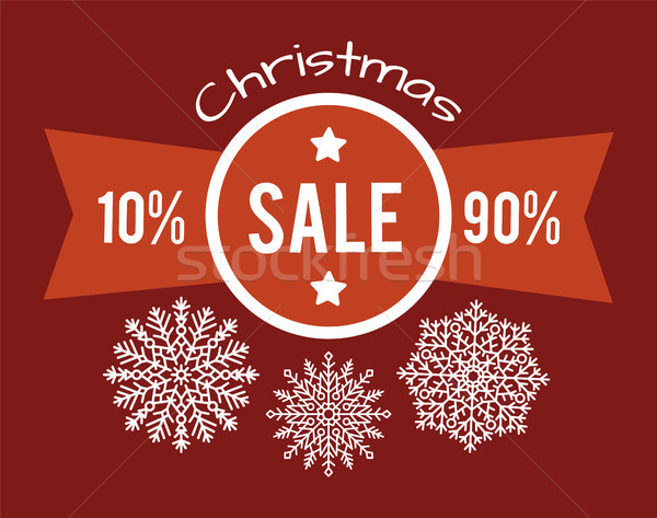 Christmas Total Sale From 10 to 90 Promo Poster Stock photo © robuart