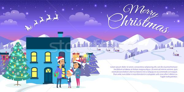 Stockfoto: Vrolijk · christmas · stad · blauwe · hemel · web · banner