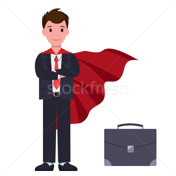 Businessman in Suit and Red Cloak with Suitcase Stock photo © robuart