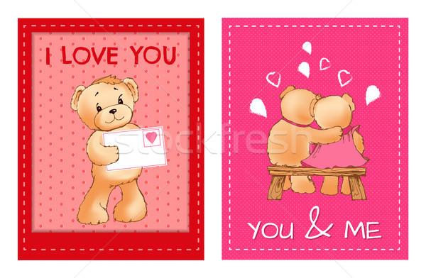Sevgililer günü kartpostallar sevimli kabarık ayılar zarf Stok fotoğraf © robuart