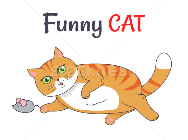 Funny Cat Playing with Mouse Vector Illustration Stock photo © robuart