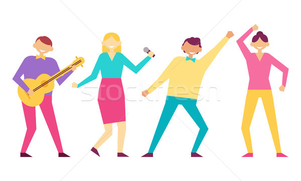 Birthday Party Happy People Vector Illustration Stock photo © robuart