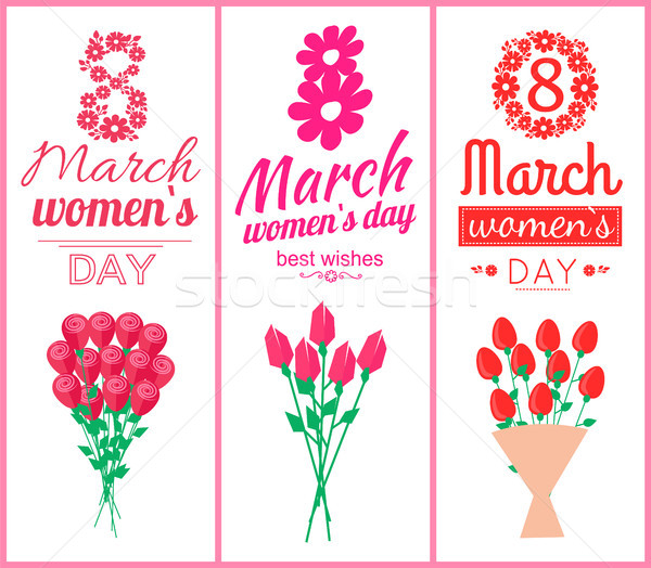 8 March Womens Day Set Poster Vector Illustration Stock photo © robuart