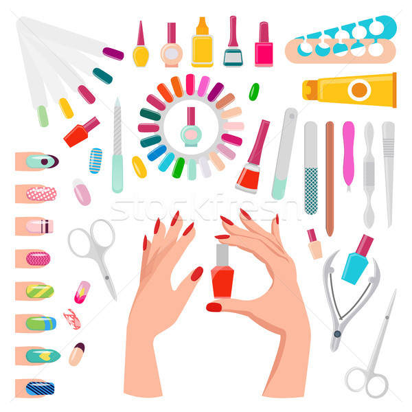 Nail Art Samples and Tools Vector Illustration Stock photo © robuart