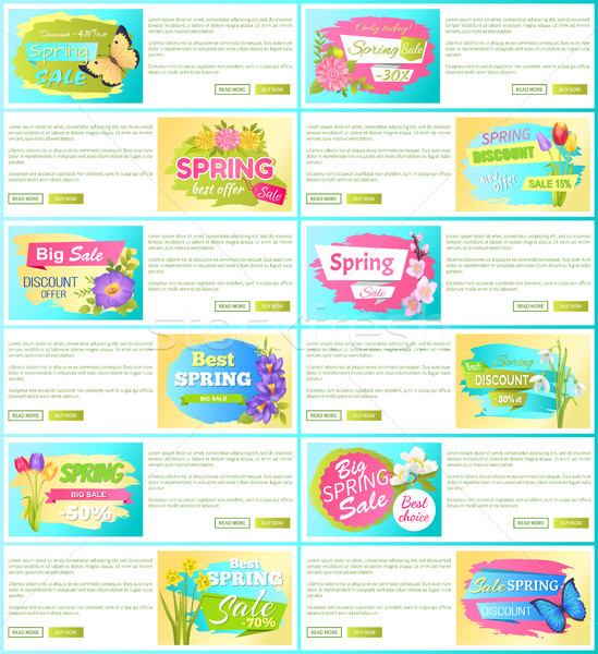 Spring Sale off Set of Advertisement Labels Flower Stock photo © robuart