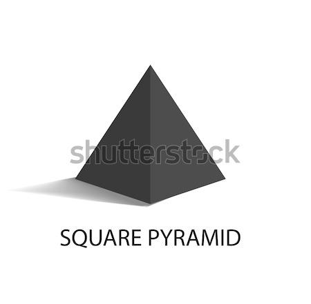 Square Pyramid Geometric Figure in Black Color Stock photo © robuart