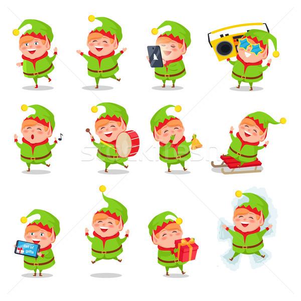 Manó gyűjtemény tevékenységek karakter zöld jelmez Stock fotó © robuart
