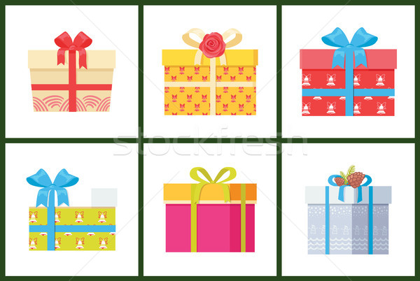 Gift Box Present Wrapped Package Icon Vector Set. Stock photo © robuart