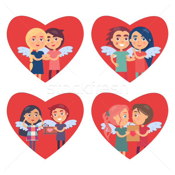 Couples in Love Valentine Day Vector Illustration Stock photo © robuart