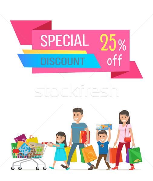 özel indirim satış afiş mutlu aile anne Stok fotoğraf © robuart