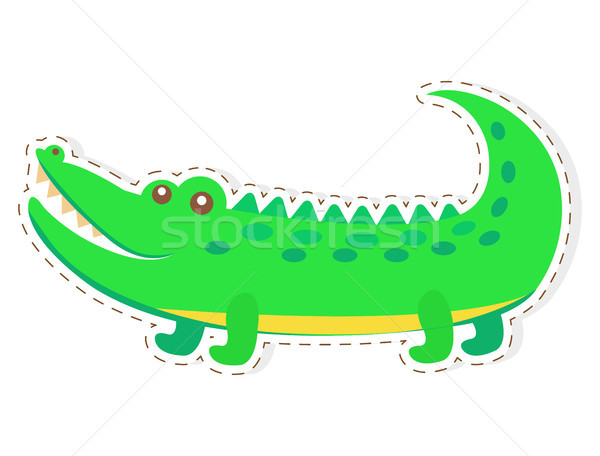 Sevimli krokodil karikatür vektör etiket ikon Stok fotoğraf © robuart