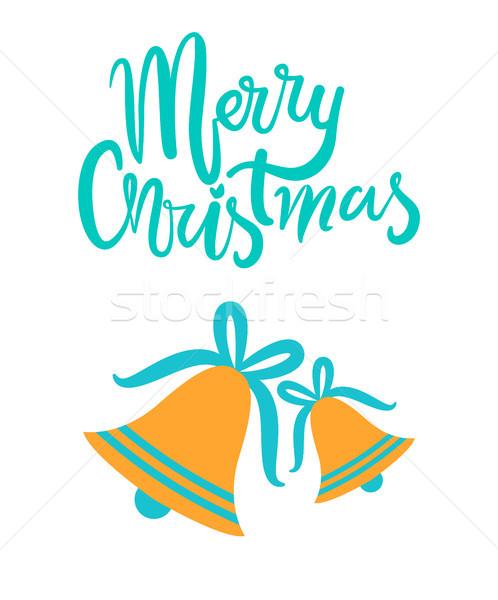 Merry Christmas Greeting Card Gold Jingle Bells Stock photo © robuart