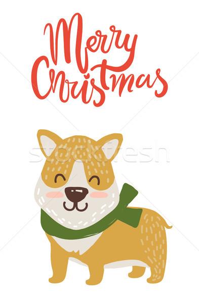 Wesoły christmas plakat gratulacja psa zielone Zdjęcia stock © robuart