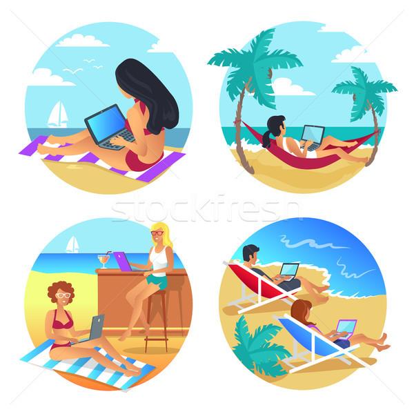Business Summer Beach Set Vector Illustration Stock photo © robuart