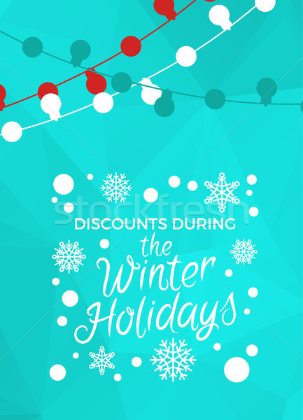 Discounts During Winter Holidays Banner in Frame Stock photo © robuart