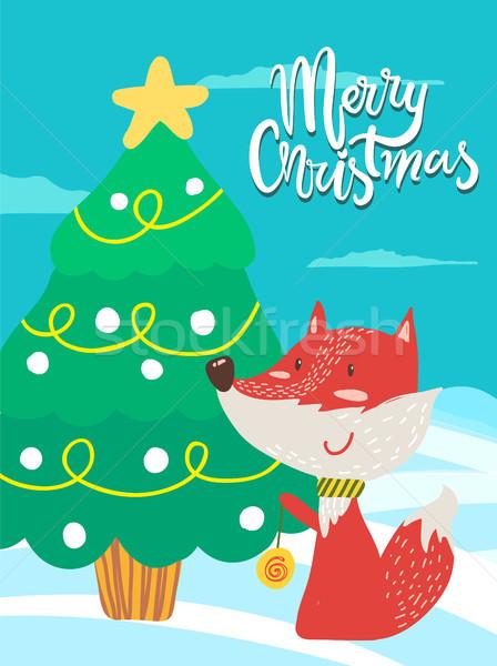 Allegro Natale poster congratulazione Fox giocare Foto d'archivio © robuart