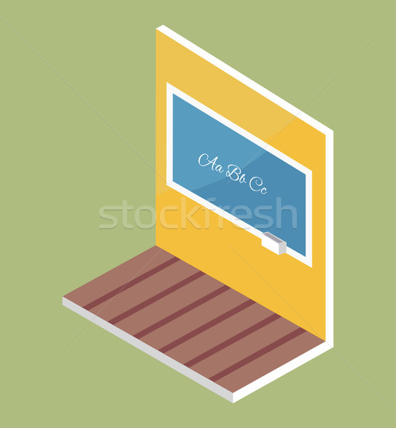 School Blackboard with ABC Text on Wooden Floor Stock photo © robuart